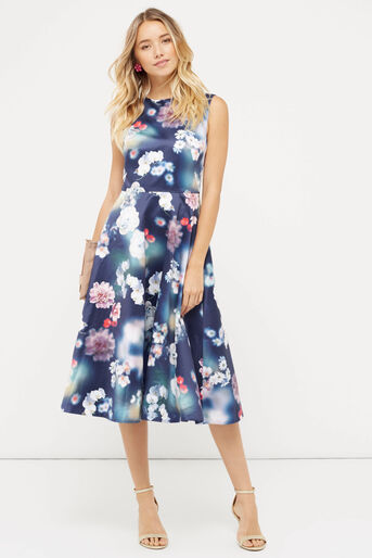 Oasis, PHOTOGRAPHIC SATIN MIDI DRESS Multi Blue 2