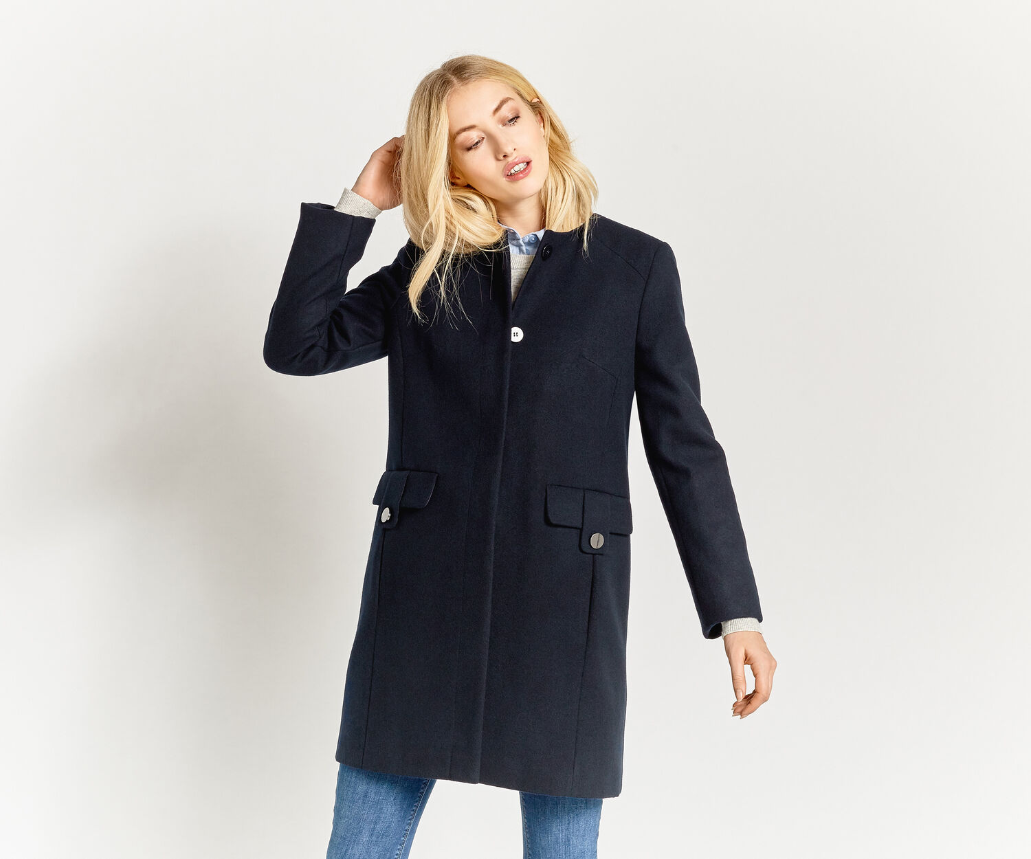 Oasis, COLLARLESS COAT Navy 1