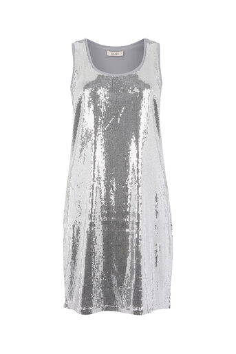 Oasis, SEQUIN VEST DRESS Pale Grey 0