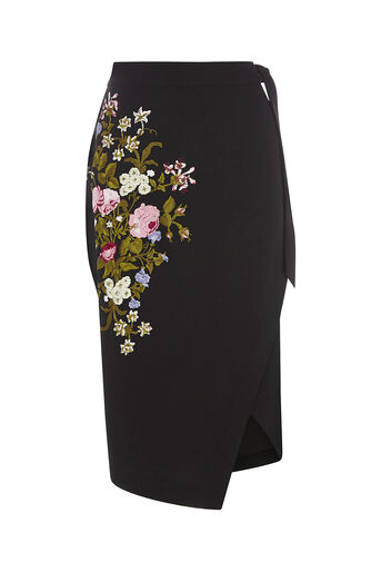 Oasis, SPRING EMBROIDERED SKIRT Multi Black 0