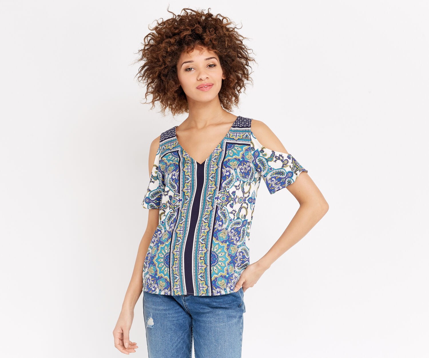 Oasis, SCARF COLD SHOULDER TOP Multi Natural 1