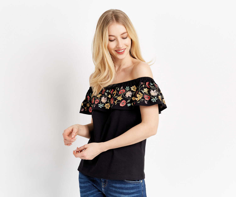 Oasis, embroidered bardot top Multi Black 1