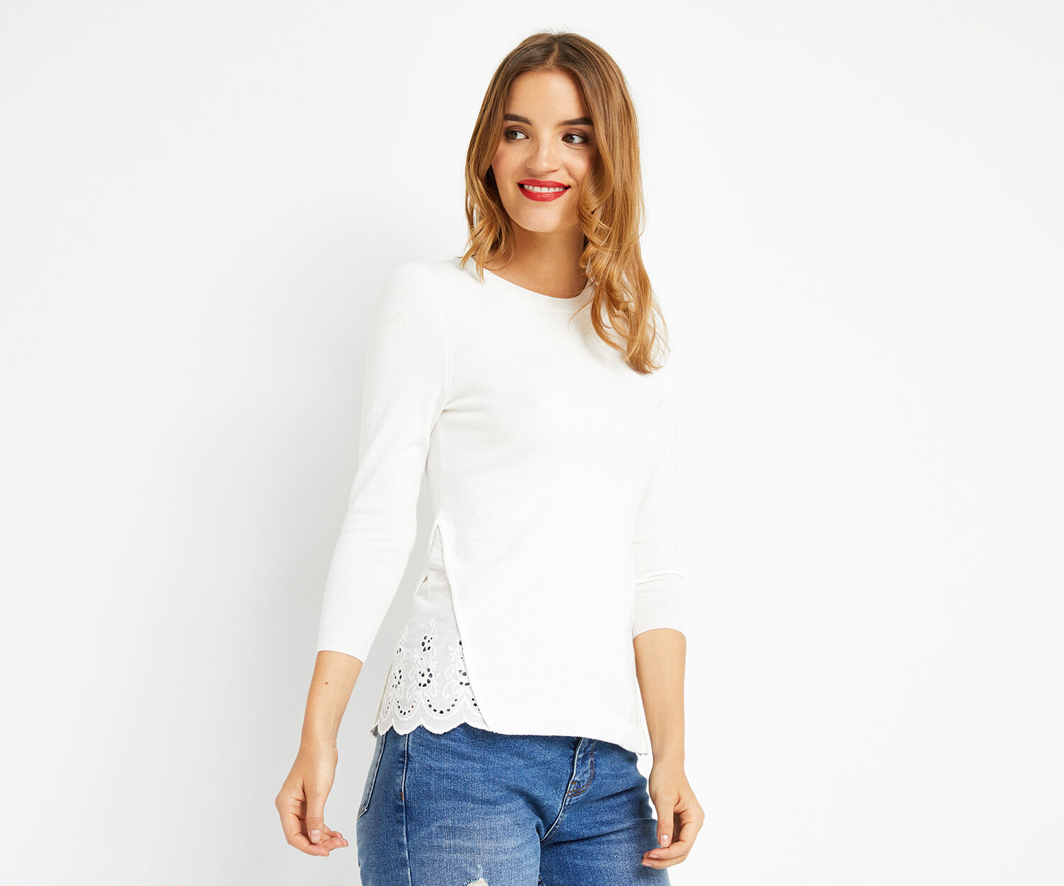 Oasis, Woven split side broidere top Off White 1