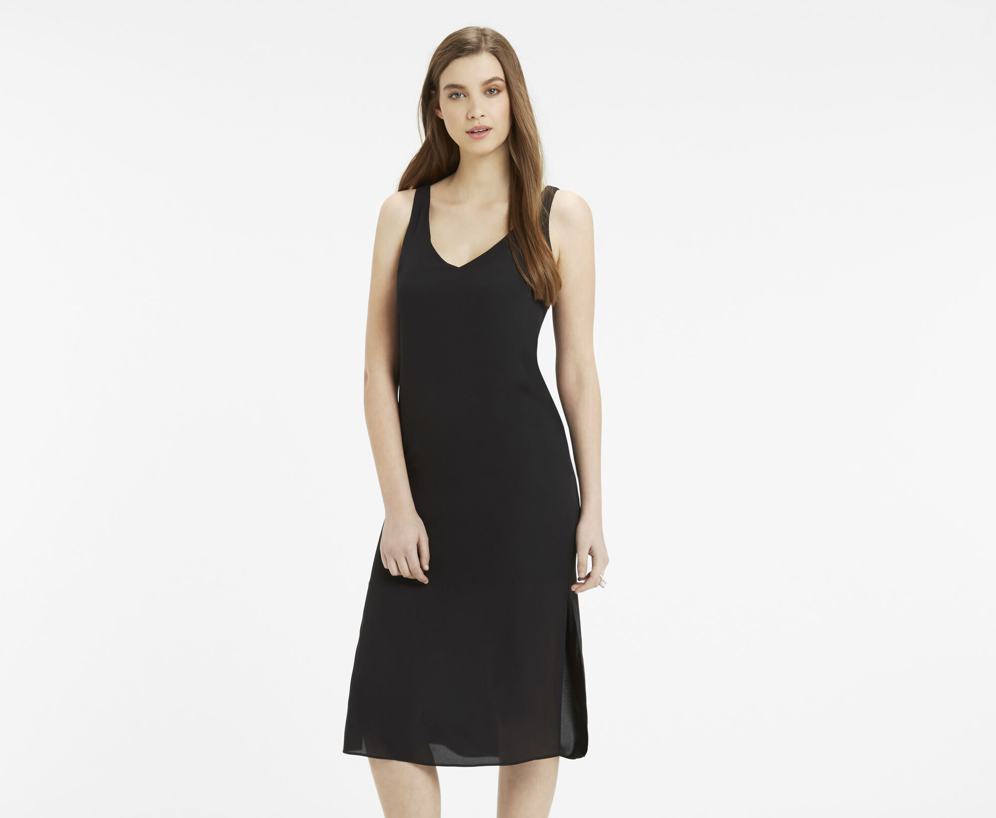 V neck midi dress oasis for Midi shirt dress black