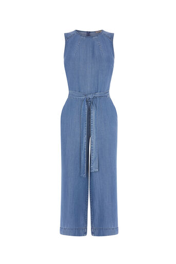 Oasis, CROPPED WIDE LEG JUMPSUIT Denim 0
