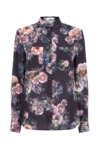 Oasis, GOTHIC BLOOM SHIRT Multi Blue 0