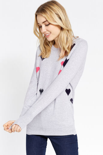 Oasis, Heart cosy knit Mid Grey 1