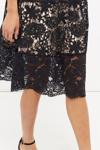 Oasis, LACE SLEEVE MIDI DRESS Black 4