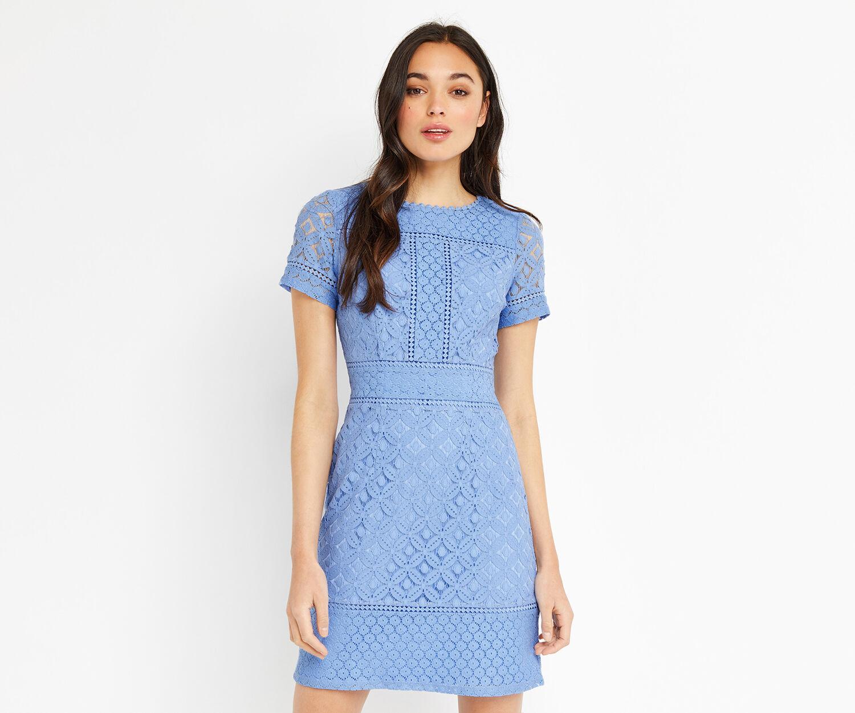 Oasis, ISLA LACE SHIFT DRESS Light Blue 1