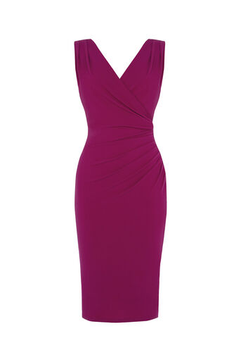 Oasis, Rouched V Neck Dress Mid Purple 0