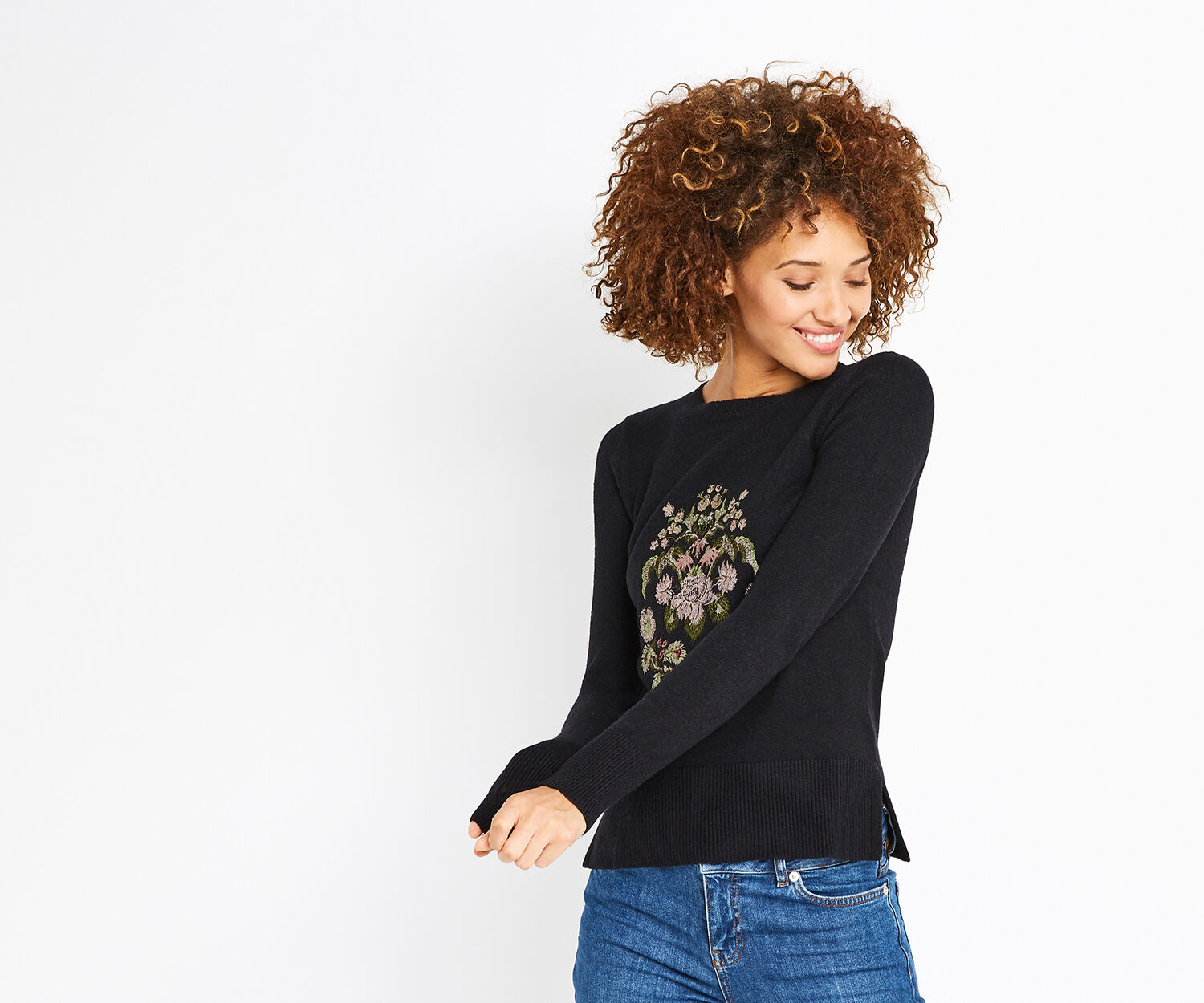 Oasis, ROSETTI EMBROIDERED KNIT Black 1