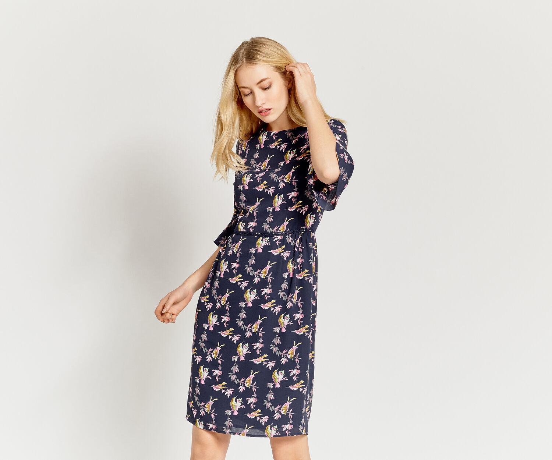 Oasis, LONG LOTUS BIRD DRESS Multi Blue 1