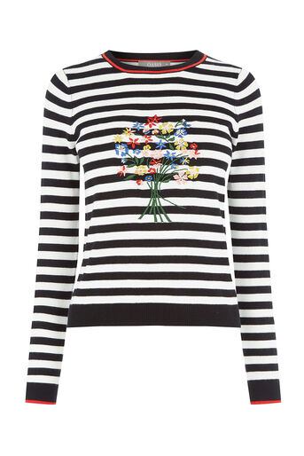 Oasis, Embroidered stripe jumper Multi Black 0