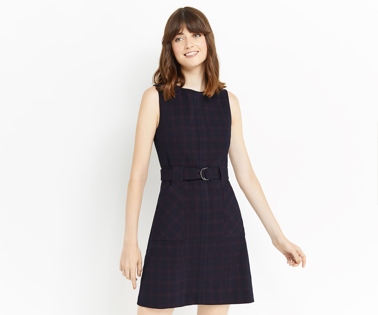Oasis, SHADOW CHECK SHIFT DRESS Navy 1