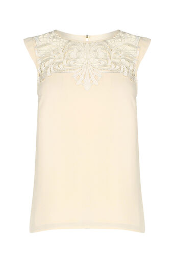 Oasis, SLEEVELESS LACE TOP Off White 0