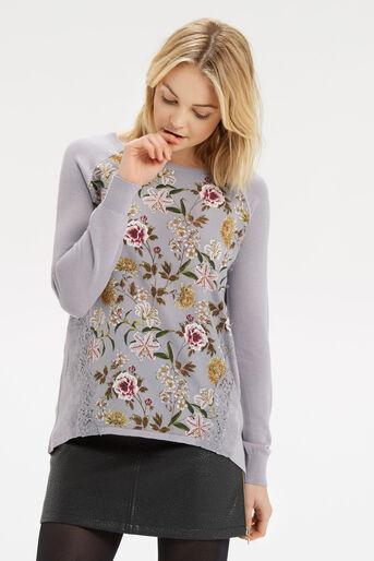 Oasis, Opium Lace Wovenfront Knit Multi Grey 1