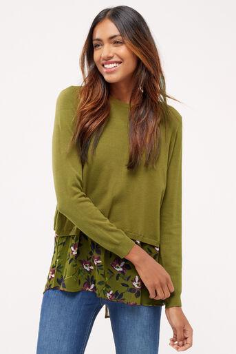 Oasis, Painted rose wrap back knit Khaki 1