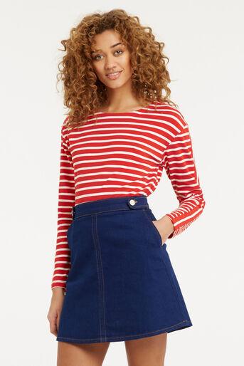 Oasis, Stripe Long Sleeved Top Multi Red 1