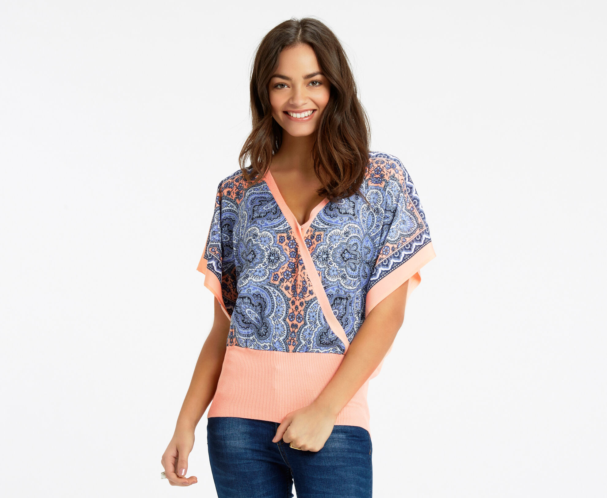 Oasis, Paisley Front Top Coral 1