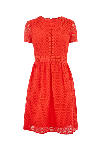 Oasis, LACE DAY SKATER DRESS Mid Red 0
