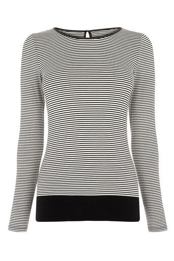 Oasis, STRIPE LONG-SLEEVED TOP Black and White 0
