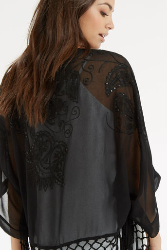 Oasis, Sequin Suki Kimono Black 4