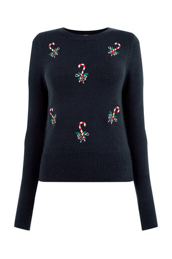 Oasis, Candy cane Christmas jumper Navy 0