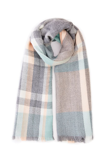 Oasis, GREY PASTEL CHECK SCARF Multi 0