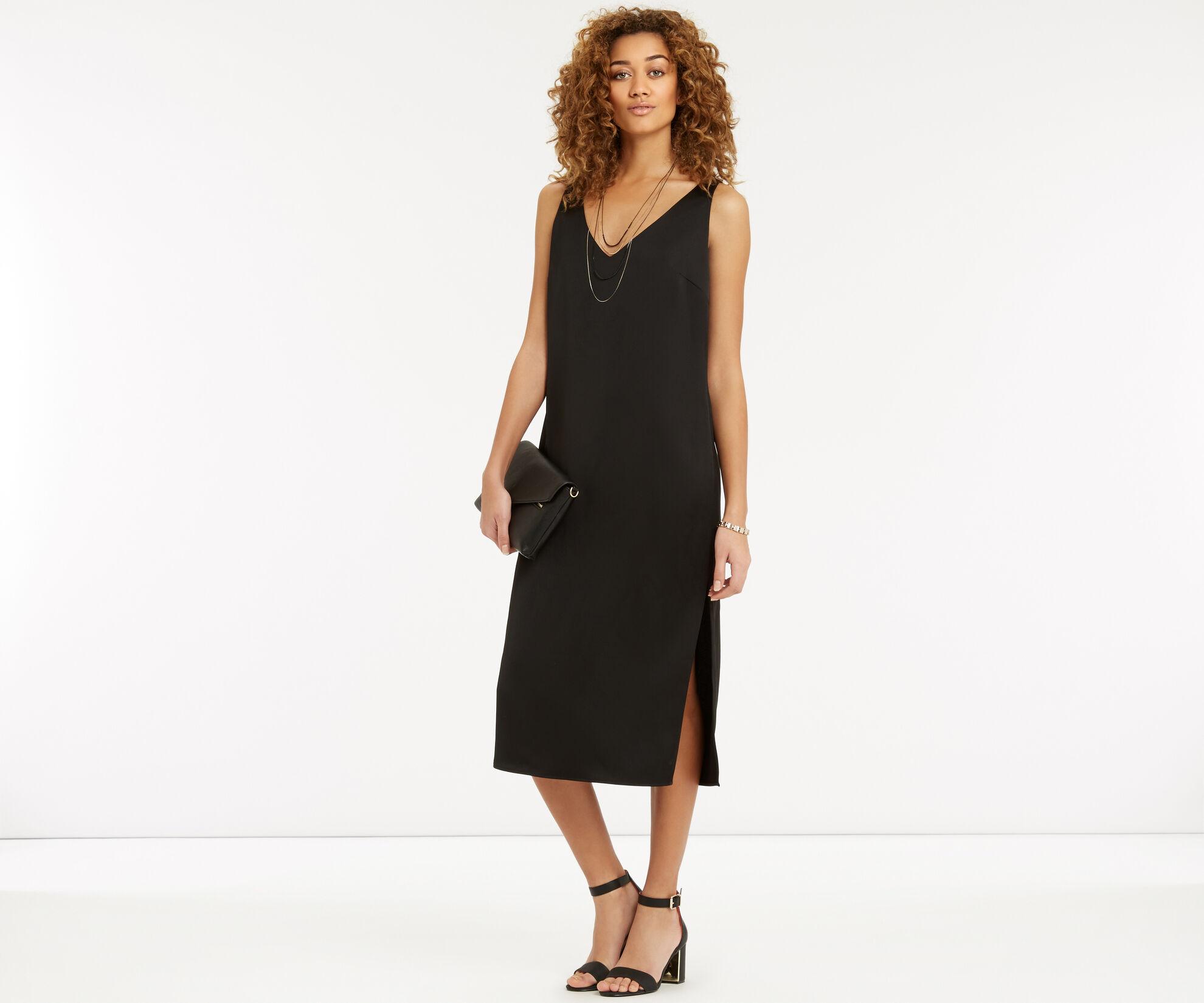 Oasis, Luxe Crepe Slip Dress Black 1