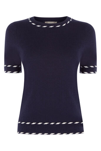 Oasis, Cute Tipped Crew Top Navy 0