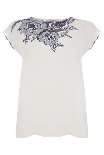 Oasis, EMBROIDERED WRAP BACK TEE Multi 0