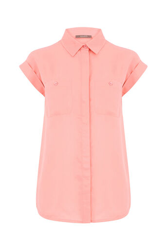 Oasis, SHORT SLEEVE COTTON SHIRT Coral 0
