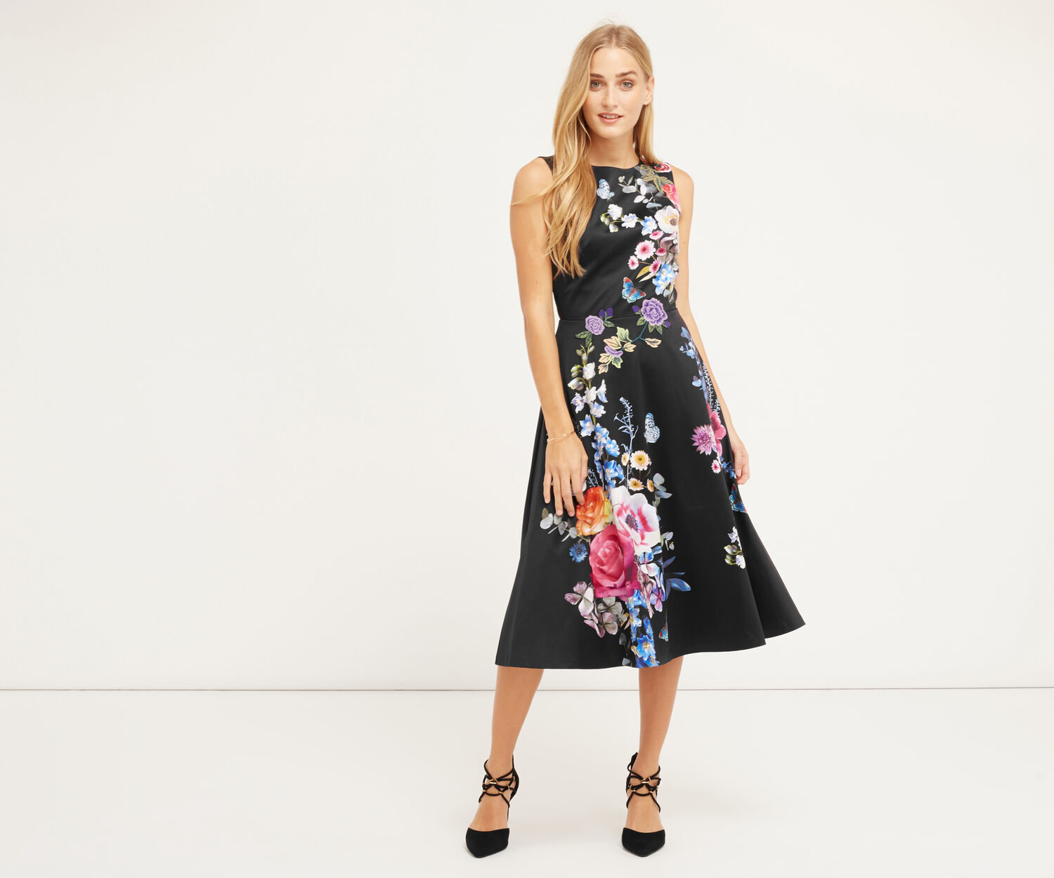 Oasis, EMBROIDERED FLORAL MIDI DRESS Multi Black 1