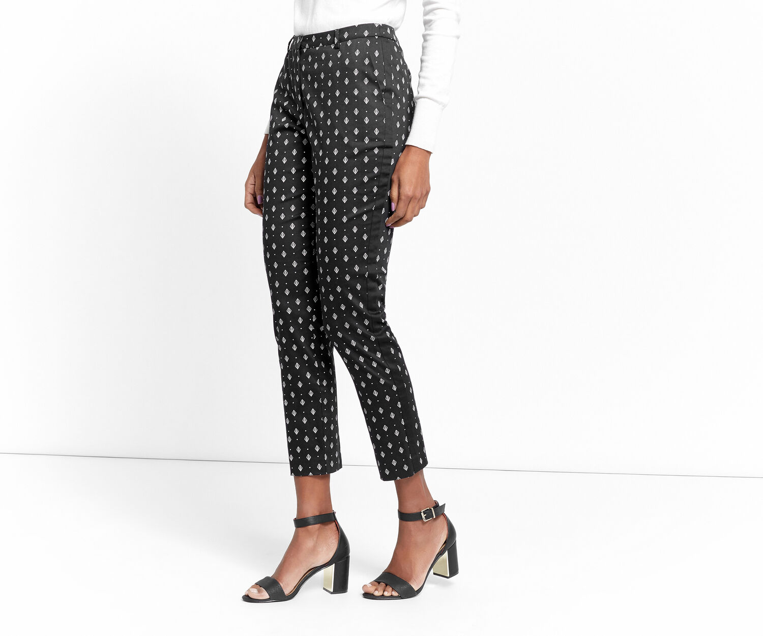 Oasis, SIDE STRIPE GEO TROUSER Multi Black 1