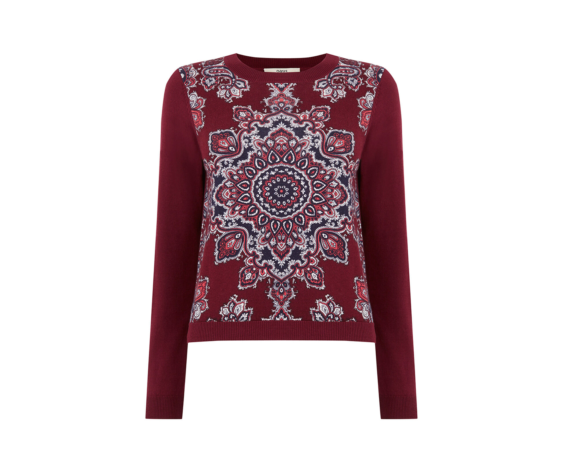 Oasis, Dakota Crop Jumper Burgundy 0
