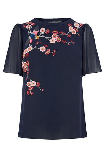 Oasis, EMBROIDERED ANGEL SLEEVE TOP Navy 0