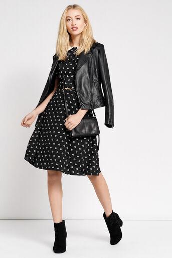 Oasis, LONG SPOTTED TEA DRESS Multi Black 2