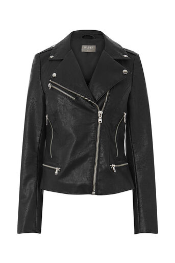 Oasis, FAUX LEATHER ZIPPED BIKER Black 0
