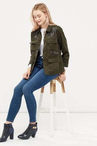 Oasis, Blossom emb utility jacket Khaki 2