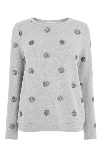 Oasis, GLITTER SPOTTED SWEATER Mid Grey 0