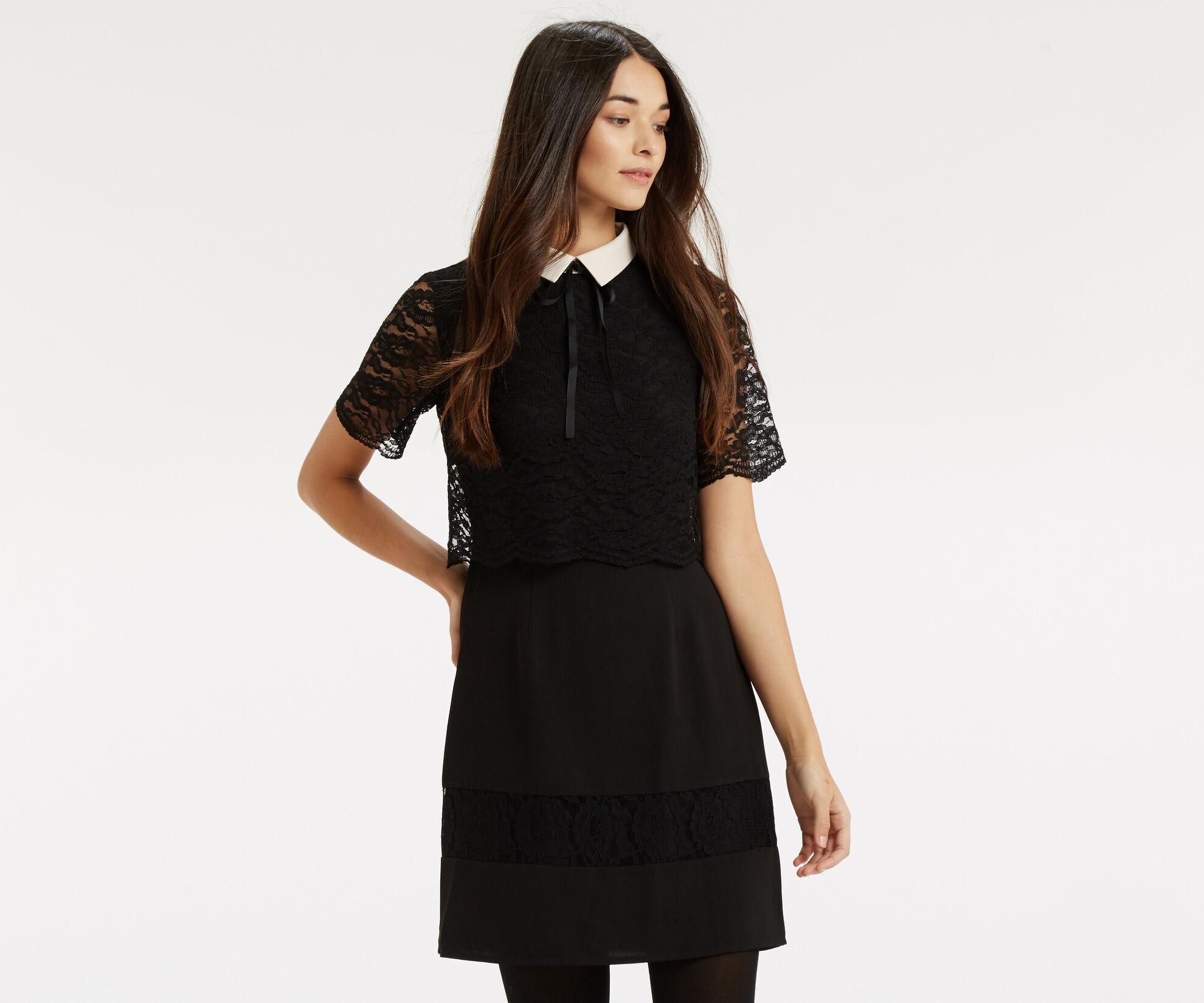 Oasis, Lace Stripe Collar Skater Black 1