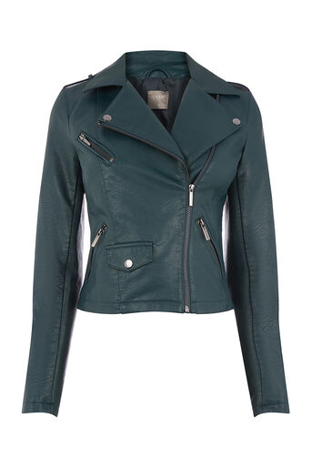 Oasis, FAUX LEATHER LUCY BIKER Deep Green 0