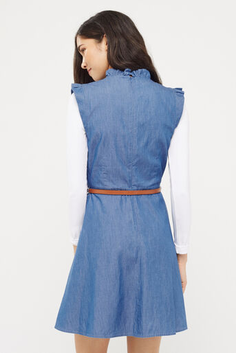 Oasis, Chambray Frill Dress Denim 3