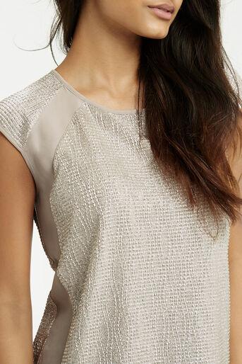 Oasis, Wrap Back Crinkle V T-Shirt Pale Pink 3