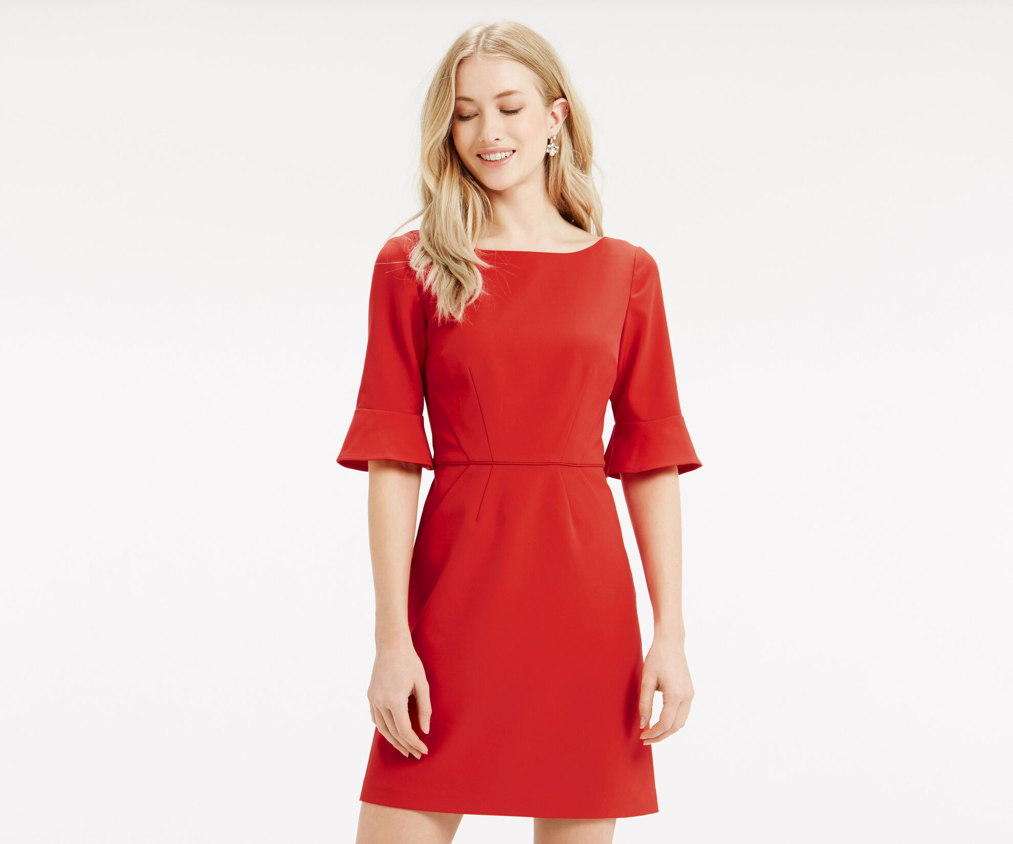 Oasis, Bell Sleeve Dress Mid Red 1