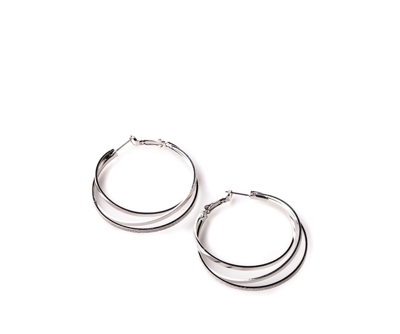 Oasis, TRIPLE LINK HOOP EARRINGS Silver 1