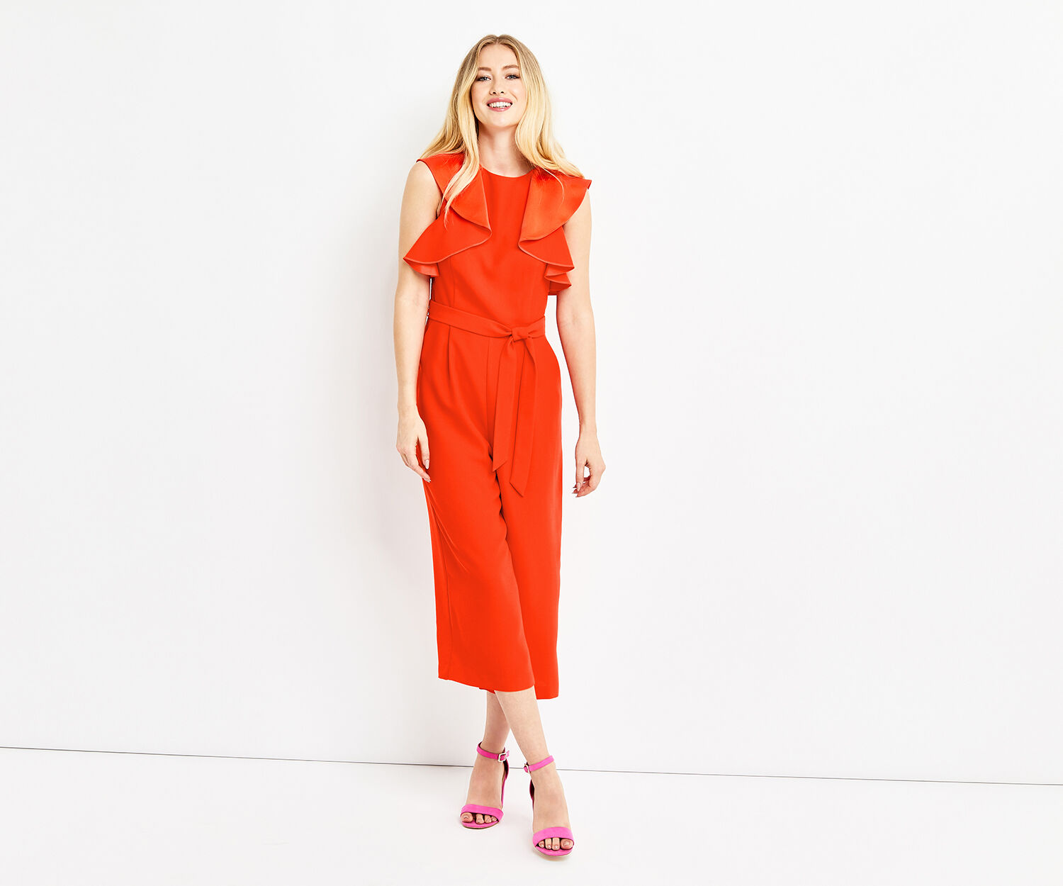 Oasis, RUFFLE TOP JUMPSUIT Rich Red 1