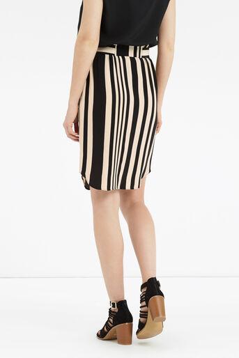 Oasis, Paperbag Stripe Skirt Multi Black 3