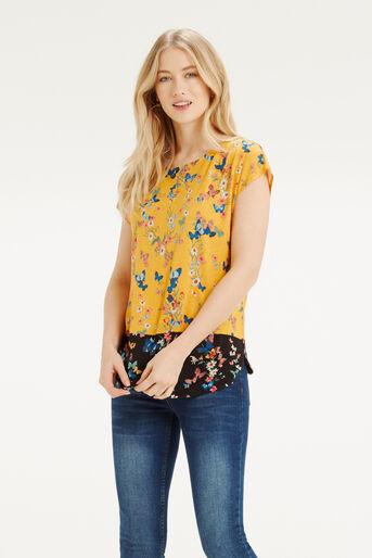 Oasis, Butterfly Printed T-Shirt Ochre 1