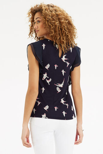 Oasis, Bird Print Lace Trim T-Shirt Navy 3